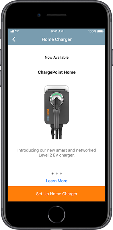 """Set Up Home Charger"" screen"