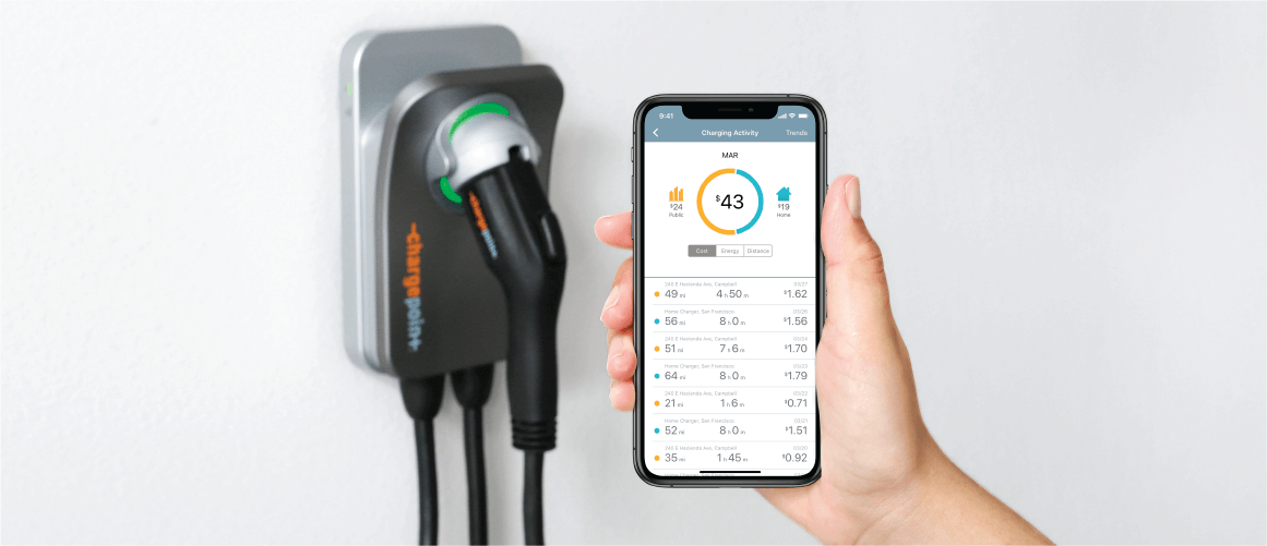Manage your home EV charger with a mobile app