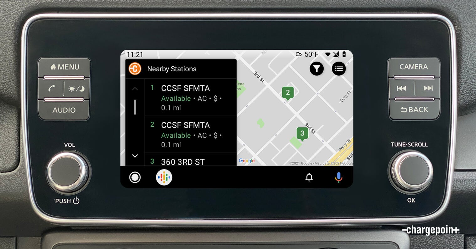 Nearby EV charging stations on Android Auto and ChargePoint