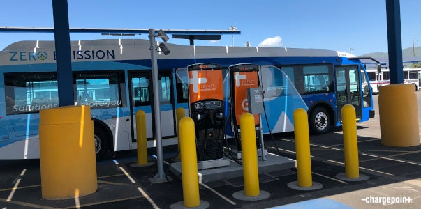 eBus charging at ChargePoint DC fast stations