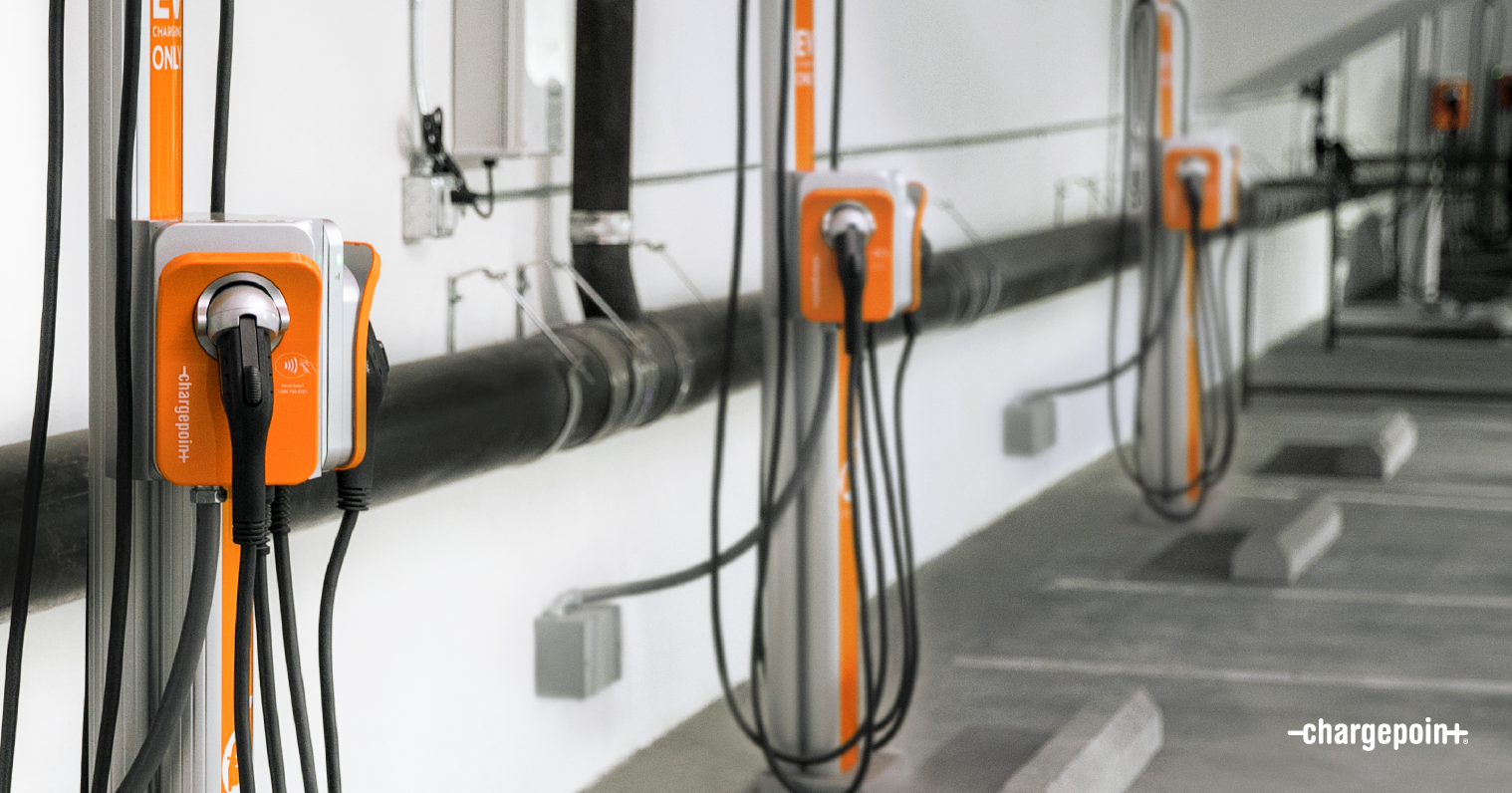 ChargePoint solutions in parking garage