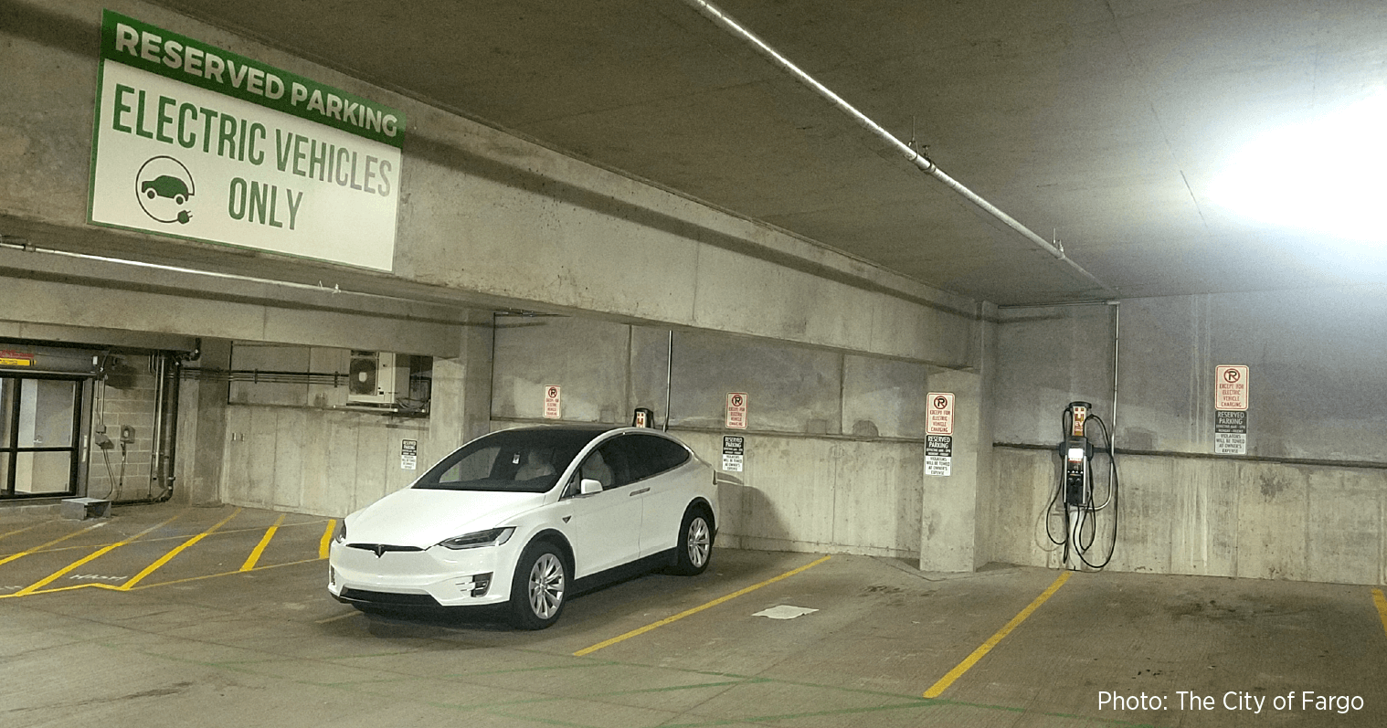 Car charging at Roberts Commons, Fargo, North Dakota