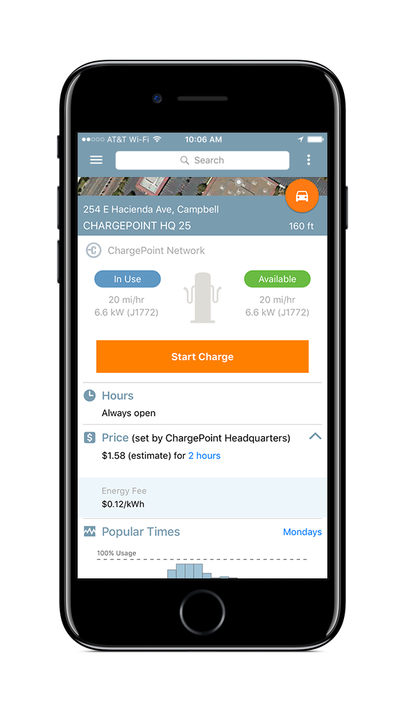 Find a place to charge in the ChargePoint app
