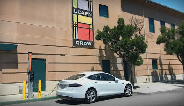 Charging Tesla Model S At Redwood City Library