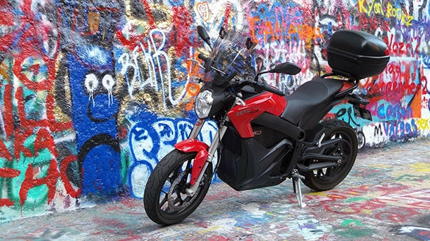 The Zero electric motorcycle with a colorful background
